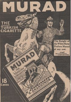 Murad Turkish Cigarette Ad, 1918 WWI Matted Ad, Unique Home Decor, Murad ad, Smoke Shop, for unusual gift, WWI soldier, quirky gift by HistoryRescued on Etsy