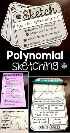 I gave my students a few polynomial equations, a few quick check sheets and asked them to find the degree, end behavior, zeros, if there were any multiplicities, the domain, and to sketch the polynomial graph. We did some more practice with various degree polynomials, ones that we first had to factor, and ones with multiplicities greater than 2.