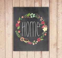 HOME Print, Floral Printable, Wreath Printable Wall Art, Home Decor, Instant Download, Green