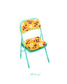 Chaise pliante floral Art Print 5 x 7 par ellolovey sur Etsy