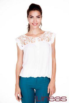 Blusa, Modelo 18595. Precio $160 MXN y Pantalón, Modelo 19833. Precio $200 MXN #Lineas #outfit #moda #tendencias #2014 #ropa #prendas #estilo #primavera #outfit #blusa #pantalon