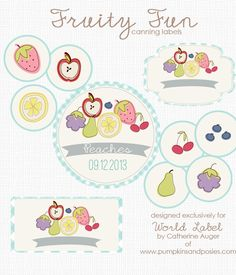 Free Printable Canning Label templates - Cute Fruity Fun Free Canning Label Printables -:) by @Catherine Auger