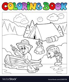 Coloring book with scout in boat - vector illustration. Download a Free Preview or High Quality Adobe Illustrator Ai, EPS, PDF and High Resolution JPEG versions. ID #21585736.