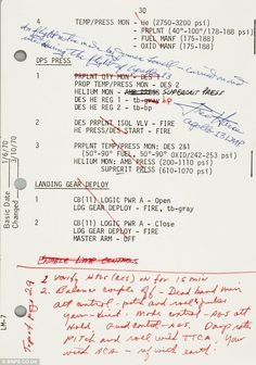 Two years ago - Astronaut Jim Lovell's extensive notes from Apollo 13 saved the crew A page bearing Jim Lovell's notes from the fateful Apollo 13 mission led Bonhams' Space History auction in New York on March Apollo Space Program, Nasa Space Program, Moon Missions, Apollo Missions, Apollo 13 Astronauts, Jim Lovell, Air Space, Space Age, Nasa History
