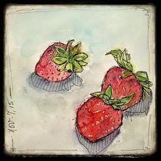 #sketching strawberries #watercolor #sketchbookery   by Roben-Marie