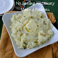 {Baked} No Peeling Necessary Mashed Potatoes Making Mashed Potatoes, How To Cook Potatoes, Potato Recipes, Vegetable Recipes, Side Dish Recipes, Side Dishes, Peeling Potatoes, Oven Racks, The Dish