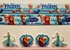 2 Yds, 4 Resin Mixed Lot Frozen Fever/Elsa Inspired Grosgrain Ribbon & Resin #Unbranded