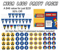 Great deal! 50% off a huge printable Lego Birthday party pack! Just $23 for a TON of stuff! Including a customized invitation and water bottle labels with the color and character of your choice! Www.etsy.com/shop/thiswiddlepiggy