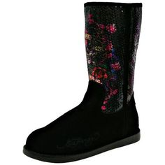 Ed Hardy Black Iceland Suede Women's Boots ($64) ❤ liked on Polyvore featuring shoes, boots, black, boots women, footwear, mid-calf boots, black mid calf boots, black boots, black sequin boots and black sequin shoes