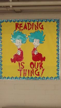 Read Across America bulletin board . You are in the right place about Dr Seuss Bulletin Board back Dr Seuss Bulletin Board, Reading Bulletin Boards, Reading Boards, School Themes, Classroom Themes, Classroom Door, Dr Seuss Week, Dr Suess, Library Displays