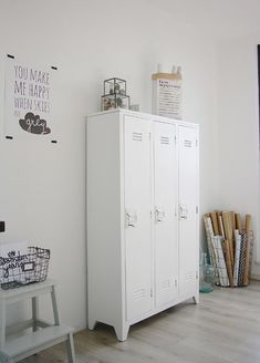 Vintage lockers are great alternative storage spaces.