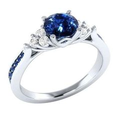 2.00 Ct Princess Blue Sapphire Gemstone Engagement Ring 14K White Gold Size  6 7  b360e713779c