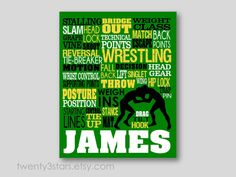 Wrestling Typography Art Print Boys Room Art by twenty3stars