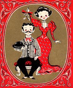 It's mistletoe time again! Vintage Christmas card