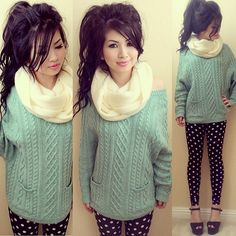 Polka dot leggings, Sweater, Hair