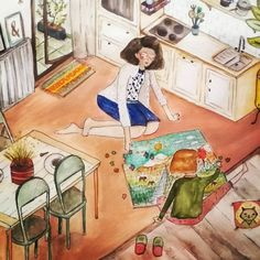 by Denise Hermo. Kitchen Game. #illustration #dailylife #girl