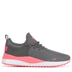 Puma Women's Pacer Next Cage Sneakers (Grey/Hot Pink) Puma Shoes Women, Cheap Nike Shoes Online, Sneakers Fashion, Sneakers Nike, Football Gear, Pumas Shoes, Hot Shoes, Womens Slippers, Nike Free