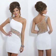 08241ef98a El un hombro atractivo 2014 nueva moda vestidos fiesta columna blanca vaina  corta vestido de fiesta vestido de 15 anos curto