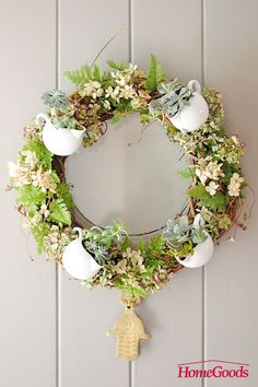 There's no better way to greet your friends into your home than by hanging a spring inspired wreath on your front door. While there are many places you could buy these, you can also flex your creative muscles by making your own. I've put together a simple tutorial on how to make a beautiful wreath using easy-to-find materials. Get your materials at your local HomeGoods.