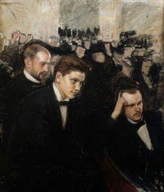 "Magnus Knut Enckell (Finnish, 1897 ""Listeners of Music"" Stockholm, Meaningful Paintings, Art Nouveau, Nordic Art, Art Of Man, Triple Goddess, Elegant Man, Interesting Faces, Classical Music"