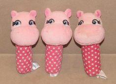 Lot Of 3 Garanimals Hand Held Pink Hippo Rattle Plush Baby Toy Polka Dot Walmart #Garanimals