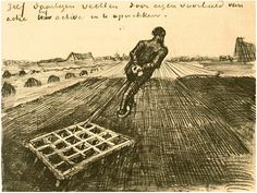 Man Pulling a Harrow - Vincent van Gogh . Created in Drente in Located at Van Gogh Museum. Find a print of this Letter Sketches Van Gogh Drawings, Van Gogh Paintings, Artist Van Gogh, Vincent Willem Van Gogh, Art Van, Impressionist Artists, Post Impressionism, Art Database, Painting & Drawing