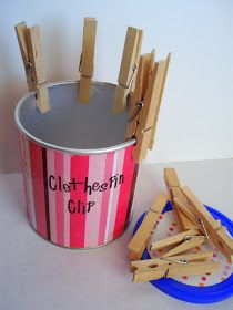 the journals of a Laura Ingalls wannabe: Clothespin Clipping Toy - Fine Motor Activity