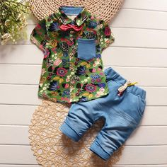 BOY'S COLORFUL & GREEN OR YELLOW BABY BUTTON-UP