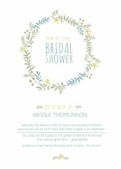 watercolor flower wreath bridal shower invitation