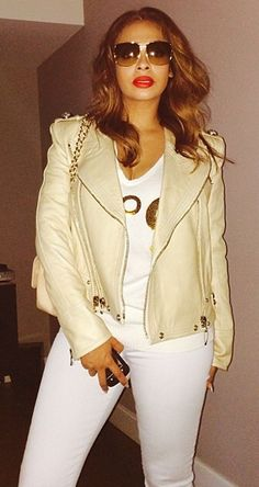daily source for pictures and updates on LaLa Anthony. Love Fashion, Girl Fashion, Autumn Fashion, Cream Leather Jacket, Cream Jacket, White Skinnies, White Pants, Celebrity Style Inspiration, Celeb Style
