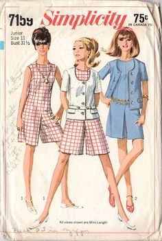 Vintage Simplicity sewing pattern 7159. Original 1960s Junior and Misses' culotte dress and jacket pattern. The mini length sleeveless and collarless culotte dress has slightly lowered round neckline