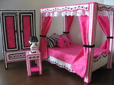 monster high inspired bedroom by graciesdesign on etsy Monster High Beds, Monster High House, Barbie Bedroom, Girls Bedroom, Bedroom Decor, Bedrooms, Doll Furniture, Dollhouse Furniture, Monster High Dollhouse
