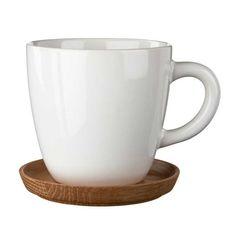 Höganäs Kahvimuki 33 cl Puulautasella, valk. kiilt, Höganäs