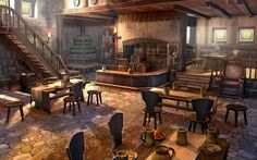Tavern/The Rising Sun (Medieval Tavern Interior - Concept Art World) Fantasy Concept Art, Fantasy Story, Fantasy World, Fantasy Art, Taverna Medieval, Deco Pirate, Level Design, Fantasy Places, Interior Concept