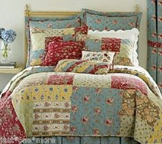 French country quilt - love this mixed patchwork