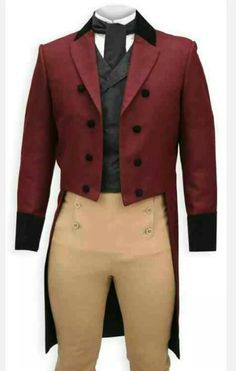 directoire/empire/regency 1790-1820 gentlemen 3 piece tailcoat, cut-in, notched collar and lapel, front fall breeches