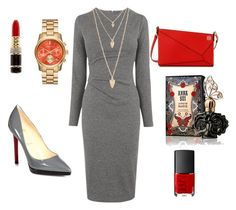 """""""Grey and Red"""" by anastasiia-loparevich on Polyvore featuring мода, Whistles, Christian Louboutin, Loewe, Kenneth Jay Lane, Forever 21, NARS Cosmetics и Anna Sui"""