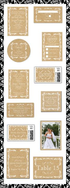 Cork and vintage frame wedding invitations and matching stationery.