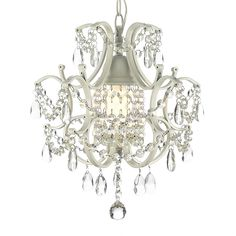 Gallery Wrought Iron & Crystal Chandelier In White - This beautiful crystal chandelier is draped with crystals that reflect the light of the candle bulb. With a white wrought iron frame, this chandelier is elegant and adds a special touch to any room. Chandelier Bedroom, White Chandelier, Chandelier Lighting, Bedroom Lighting, Bathtub Lighting, Chandelier Video, Boho Lighting, French Chandelier, Kitchen Chandelier