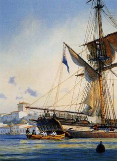 """Geoff Hunt Print - """"Master And Commander"""" Cover art for Patrick O'Brian's Aubrey-Maturin series book. Jack Aubrey's first command, the little 14 gun brig-sloop Sophie, is seen here peacefully moored in Port Mahon, Minorca. Though Sophie was only the size of a yacht, (seventy-eight feet along the gun deck) she carried a crew of eighty or ninety. The blue flag signifies that she belongs to an Admiral of the blue squadron.  - on ScrimshawGallery.com #GeoffHunt #Aubrey"""