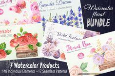 Watercolor Floral BUNDLE 148 element by LarysaZabrotskaya on Creative Market