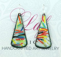 ❤ A playful pair of tutti frutti style long triangle earrings to add to your stylish collection of jewelry. These will pair perfectly with your solid color clothing. and will add that little pop of color you are looking for to complete your wardrobe! Sure to make a statement *.925 Sterling Silver Components* SIZE: 2 Long x just over 3/4 Wide ♥ I hand shaped these earrings out of sheet copper and used colored glass enamel which is ground up glass that I sift onto the copper before firi...