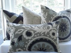 Both Sides--Decorative Pillow Cover - Suzani--Lumbar--14x24--Taupe/black/Ivory/Blue Grey--Nubby Linen Flax. $42.95, via Etsy.