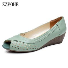 33491e638 ZZPOHE 2017 Summer New women shoes Genuine leather casual women's wedges  Open Toe Mother Plus Size Sandals
