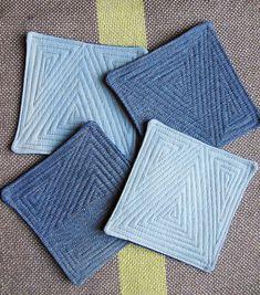 Denim Coasters with quilt stitching