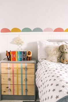 Don's Room Refresh- Scallops and Dresser. How to paint a rainbow scallop wall and stripes on a dresser makeover. Tutorial with step by step instructions for this easy project