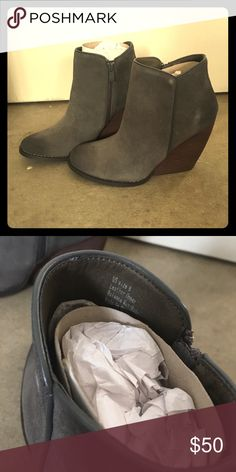 Brand new grey ankle boots Never worn, about 3 inch heel. Comes with original box very volatile Shoes Ankle Boots & Booties