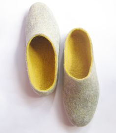 Felted Slippers Mens Modern. Amber Yellow Grey Pebble. Custom made. Add the Cork Sole. Spring trends. $96.00, via Etsy.
