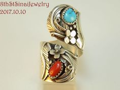 Estate Southwestern Sterling Silver 925 Turquoise & Coral By-pass Ring Size Adju #MEDHandSigned #ByPassBand