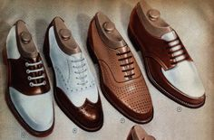 mens oxford shoes vintage 1940s catalog page. Take your pick and head for the USO dance.